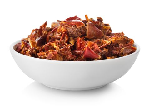 Chopped peppers in plate