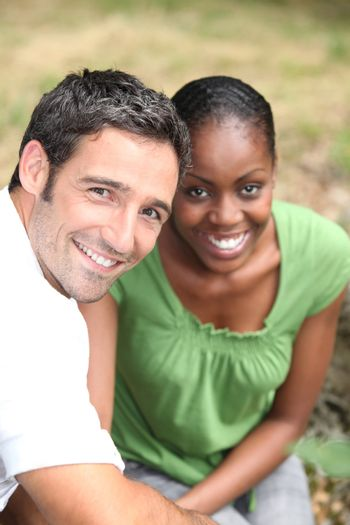 Mixed-race couple at the park