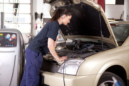 Woman Tuning Car