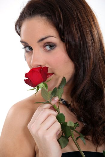 young woman with red rose