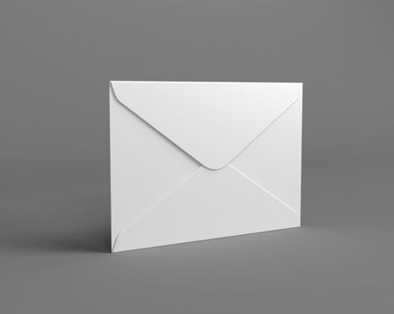 White Mail Envelope on the Gray Background