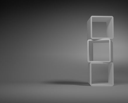 Gray Abstract Rectangle Frames Standing in the Gray Room