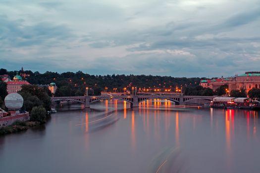 Evening View of The Vltava River and Bridges in Prague