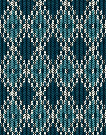 Knit Woolen Seamless Jacquard Ornament Pattern. Fabric Dark Blue Color Tracery Background