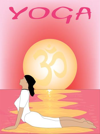 A yoga poster set on a pink oriental sunset.