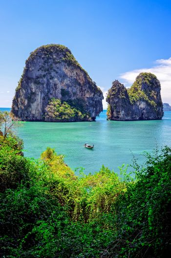Tropical island and ocean landscape view in Andaman sea