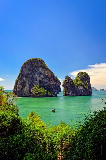 Tropical island and sea landscape view in Andaman sea