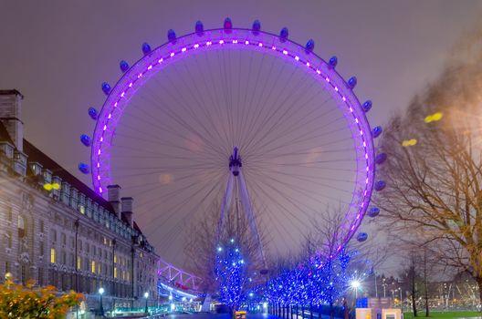 The London Eye Panoramic Wheel at Night