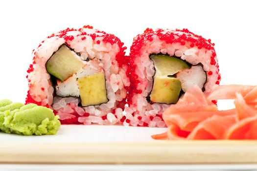 Close up top view of sushi over white background
