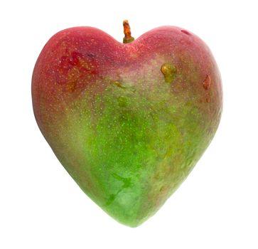 One mango dhaped like heart isolated on white background