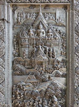 Silver Struck panels in silver temple Wat Sri Suphan
