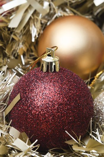 Christmas Baubles and Tinsel Close Up