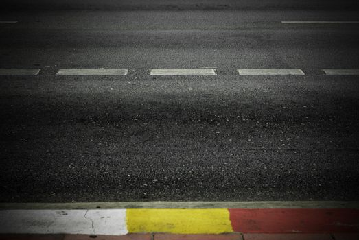Highway with road markings