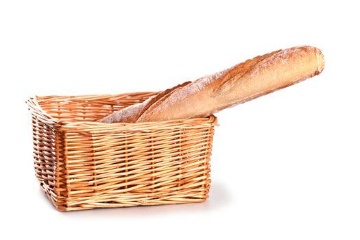 fresh baguette in a basket