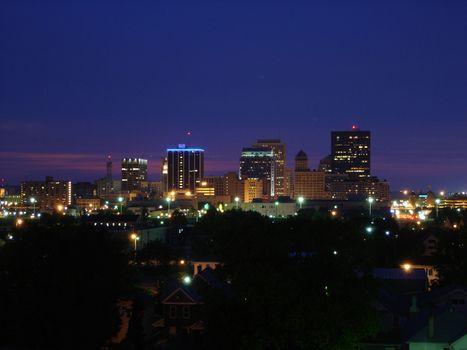Dayton Ohio Skyline at Night