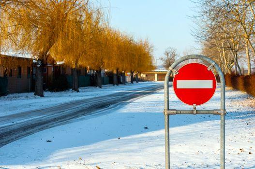 No entry sign at the road