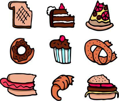 Cartoon bitten food set