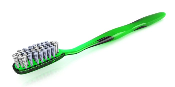 A green toothbrush. 3D rendered Illustration. isolated on white.