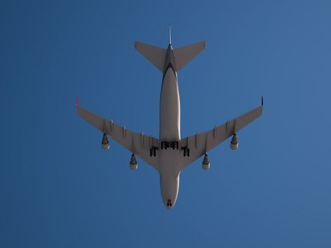 Large Jumbo Jet isolated on clear and blue Sky