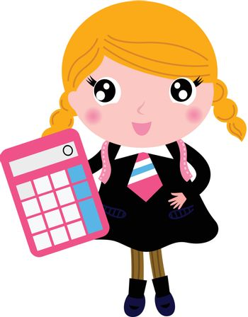 Cute girl in school uniform. Vector cartoon Illustration