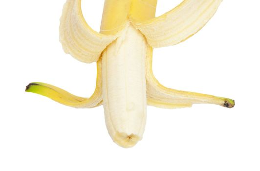 open a banana on a white background
