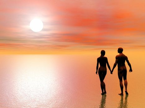 A man holding the hand of his girlfriend and walking to the sun upon the water by sunset