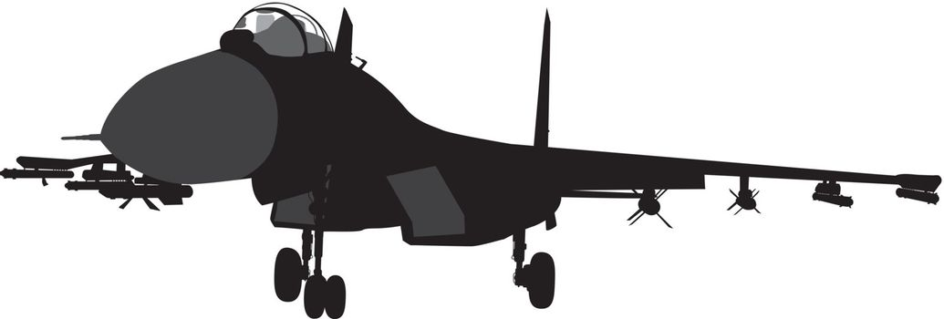 Su-35 Russian fighter aircraft vector silhouette