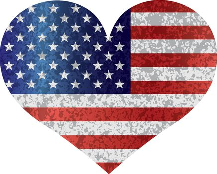 Fourth of July USA Flag in Heart Shape with Texture Illustration