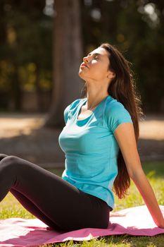 young beautiful sport woman enjoying outdoors before sport