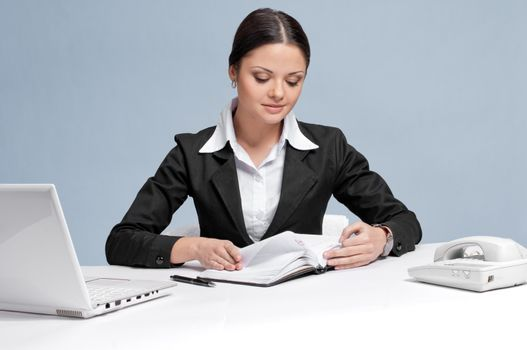 Business woman with diary personal organizer