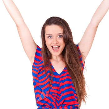 young beautiful women win on white background