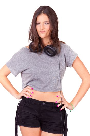Young women portrait, with headphones on white background