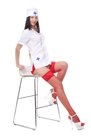 Sexy medic woman with red lips. isolated.
