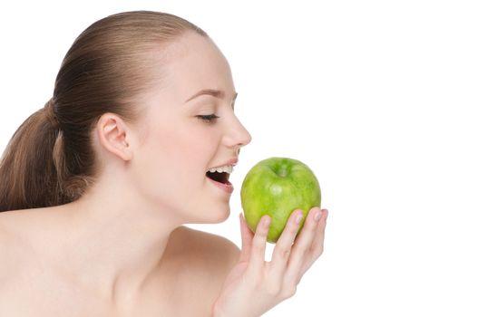 woman eat green apple
