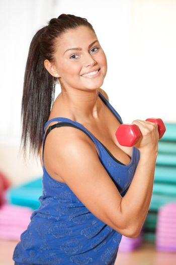 Beautiful sport woman doing power fitness exercise at sport gym. Dumbbell