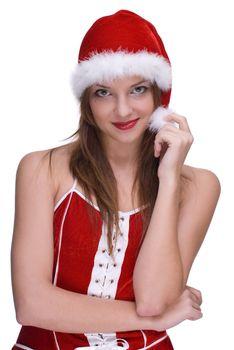 Emotional girl in santa clause dress