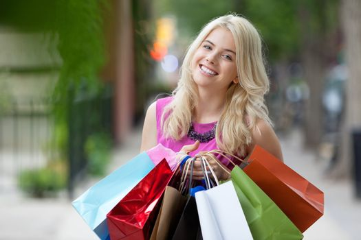 Happy Shopaholic Woman