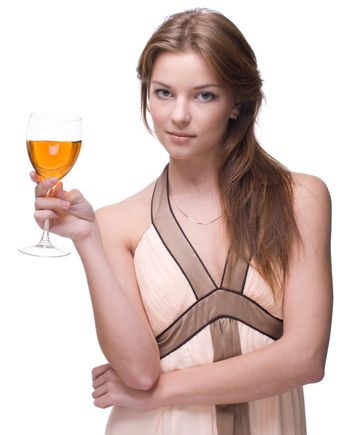 Womanl with glass of alcohol