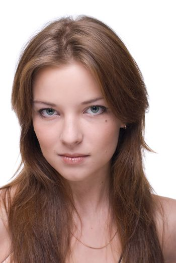 Closeup portrait of girl with clear makeup