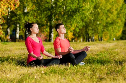 Man and woman woman doing yoga in park