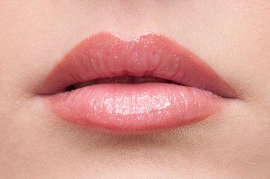 Close-up lips make-up zone
