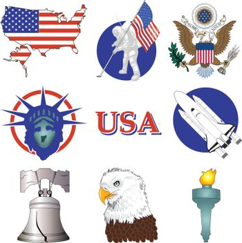 Vector Illustration of nine American History Icons.