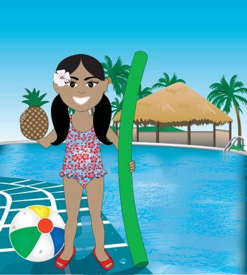 Vector Illustration of Hawaiian girl poolside resort with pineapple, noodle and beach ball.
