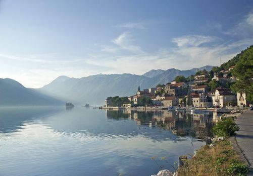 perast village in the bay of kotor in montenegro