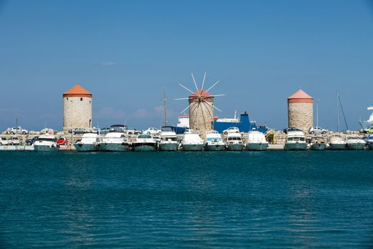windmills in the port to Rhodes
