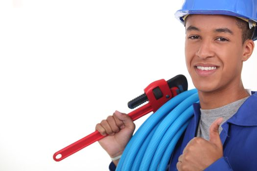 Plumber with plastic piping