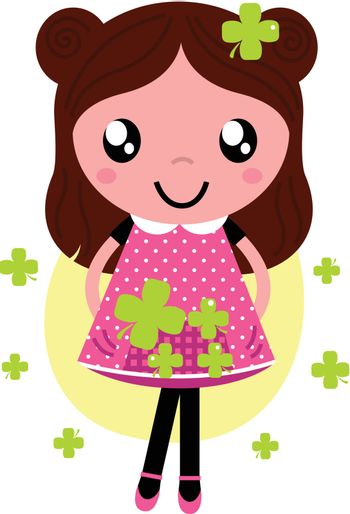 Romance little Girl with four leaf clovers. Vector Illustration