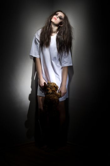 Zombie girl with bear