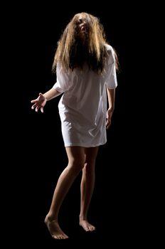 Zombie girl isolated