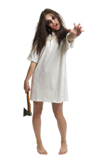 Zombie girl with axe